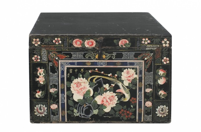Antique Chinese Trunk Peonies & butterflies