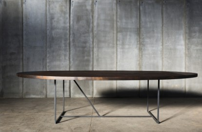Oval Dining Table W reclaimed wood charcoal black 240x130cm