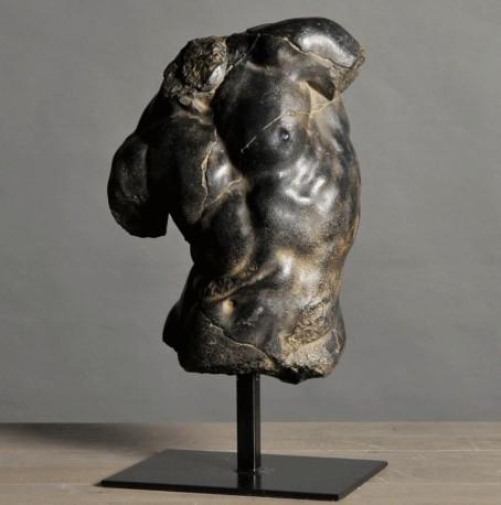 Statue torse noir d'Apollon