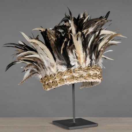 New Guinea Headdress - Shells and Black Feathers