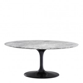 Contemporary Gray Oval Dining Table