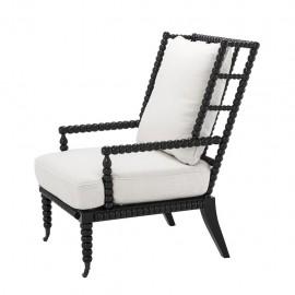 Black Caned Armchair, Pondichery 40s