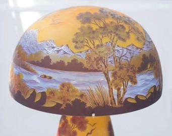 Art Nouveau Lamp, Blue Landscape
