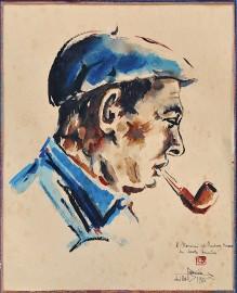 1950 watercolor, Portrait Basque,