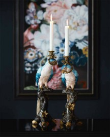 Pair of Candleholders Blue & Pink Parrots