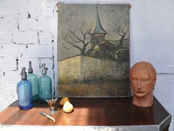 Un clocher en Hiver, huile sur toile