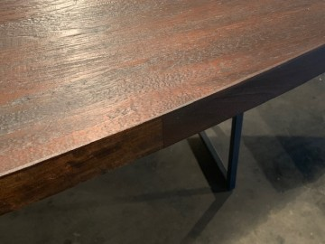 Oval Dining Table W reclaimed wood charcoal black 300x170cm