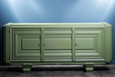Vintage sideboard from the 40s mat green finish