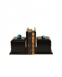 Black Bookshelves With Turquoises