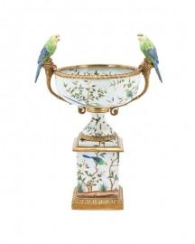 Floral Porcelain Bowl With Parrots