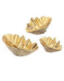 Set of 3 Clams Gold Finish