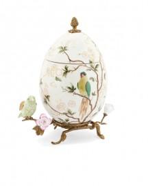 White Egg-Shaped Ceramic & Bronze Box