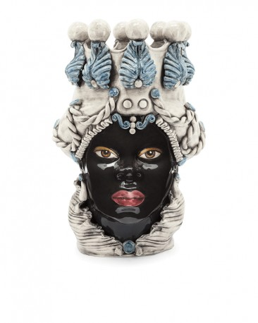 Ceramic Vase, Woman Moor Head White & Blue