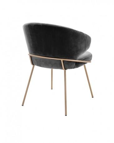 Dining Chair Bustier, Grey Velvet