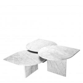 Table Basse Firenze, Marbre de Carrare, Set de 3