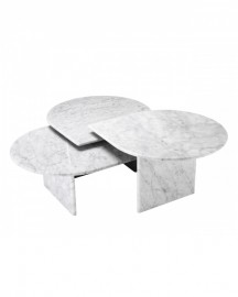 Coffee Tables, Set of 3, Carrara Marble