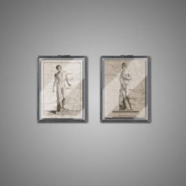 Studies Greek statuary, a set of two display cases.