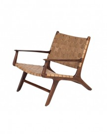 Natural Leather & Teak Lounge Chair Fjord