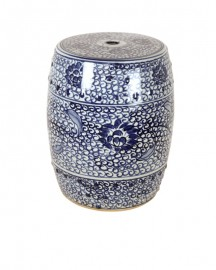 Tabouret ou Guéridon en Céramique aux Lotus