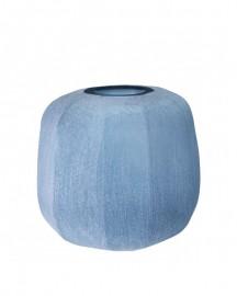 Blue Hand Blown Glass Vase Silk