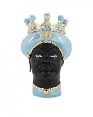 Ceramic Vase, Woman Moor Head Gold & Blue
