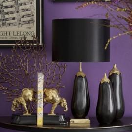 Eggplant Bronze and Brass Figurines, Set of 2