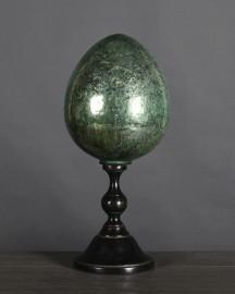 Oeuf en Céramique Craquelée Verte Style 19éme - H 45 cm