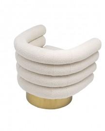 Curly Cream Swivel Armchair Gina