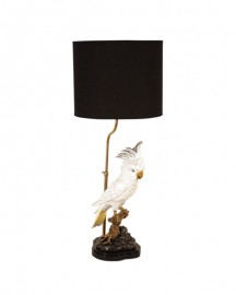 Withe Cockatoo Table Lamp Black shade