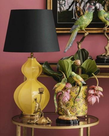 Lampe Cucurbitacée Porcelaine Jaune - H 64 cm
