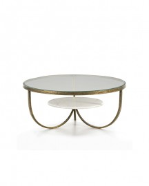 Table Basse Ovale Axe, Verre Marbre Métal