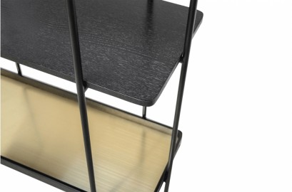 Etagères Connor - Chêne Noirci et Métal inoxydable - H160 cm