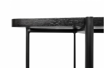 Ava Side Board Shiny Black Steel and Glass