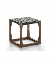 Wood and Leather Stool Ely