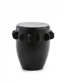 Stool or Pedestal Table in Black Wood H46cm