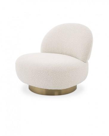 Swivel Chair Curves, Cream Loop Fabric