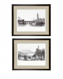 Ancient Chinese City Prints, Set of 2