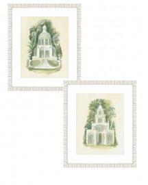 Gravures Aquarelles Architecture et Botanique -  Set de 2