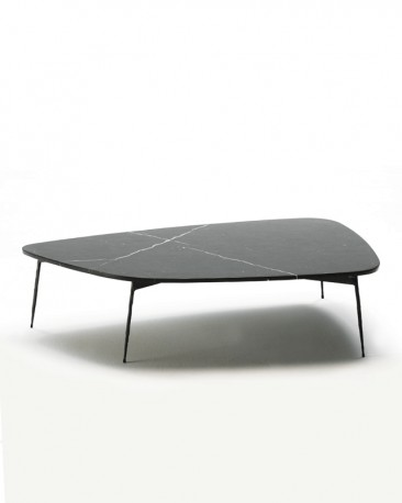 Oval Coffee Table Axe - Metal, Glass, Marble