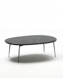 Table Basse Ovale Marbre et Métal Noirs - 100cm