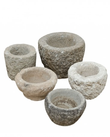 Assortment of 10 Antic Orchid Antic Natural Stone Pots