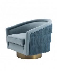 Light Blue Swivel & Fringes Armchair Chabada