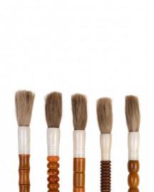 Set of 10 Amber Stones Calligraphy Brushes