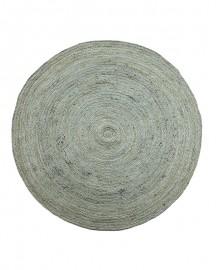 Round Rug Turquoise Gray jute