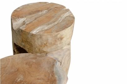 Stool or Side Table Root Cylinder Teak H45cm