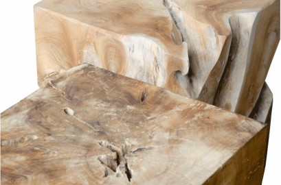 Natural Teak Table Set of 2, H40cm