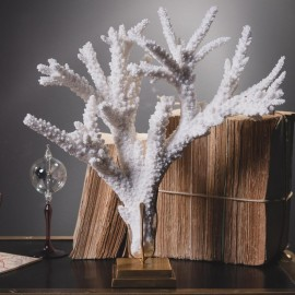 Corail Branche Blanc sur Base Laiton
