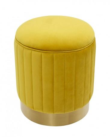 Yellow Velvet Round Stool Allegro H45cm