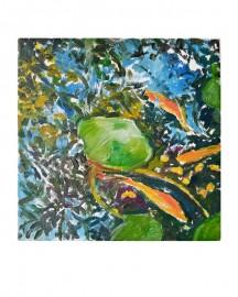 Huile sur toile, Etude au Bassin N°15 - 20x20 cm