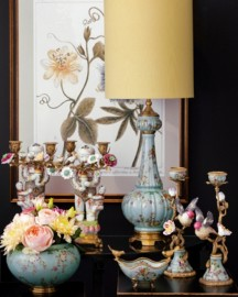 Large Hand-Painted Porcelain Table Lamp